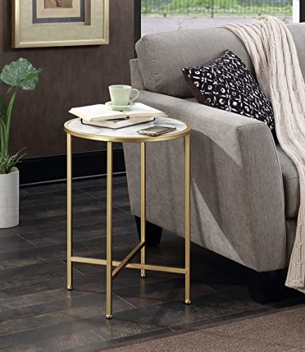 Convenience Concepts Gold Coast Faux Marble Round End Table, Gold Faux Marble
