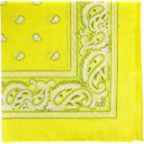 Bandanas by the Dozen (12 units per pack, 100% cotton) (Dozen-Yellow Paisley)