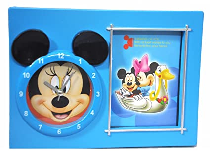MK Mickey Mouse Character Table Clock with Photo Frame Assorted Color