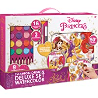 Make It Real – Disney Princess Fashion Design Deluxe Set Watercolor. Disney Princesses Watercolor Set for Girls. Includes Sketch Pages, Paint Brushes, Watercolor Paints & Pencils, Stencils & Stickers
