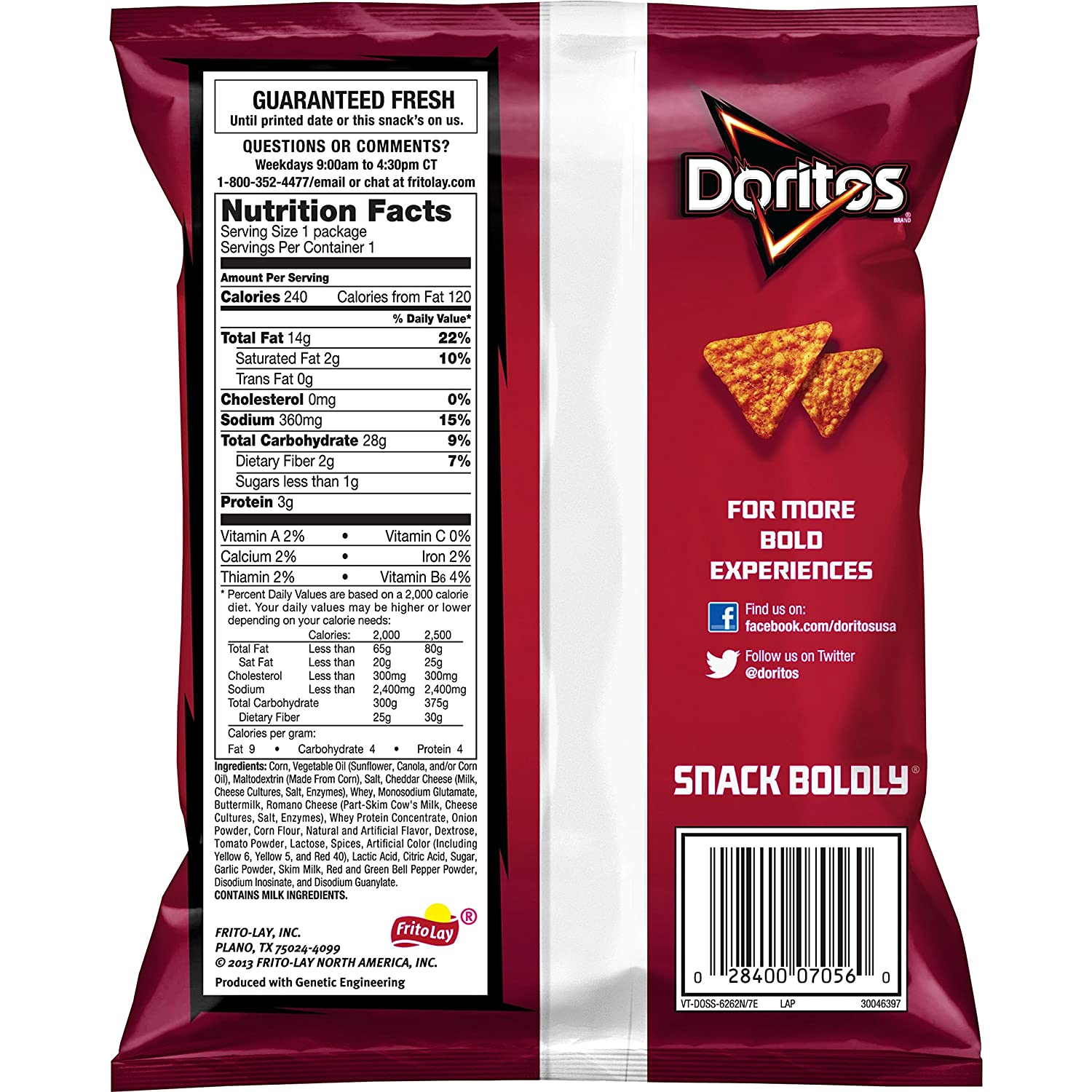 Amazoncom Doritos Nacho Cheese Flavored Tortilla Chips 175 Ounce