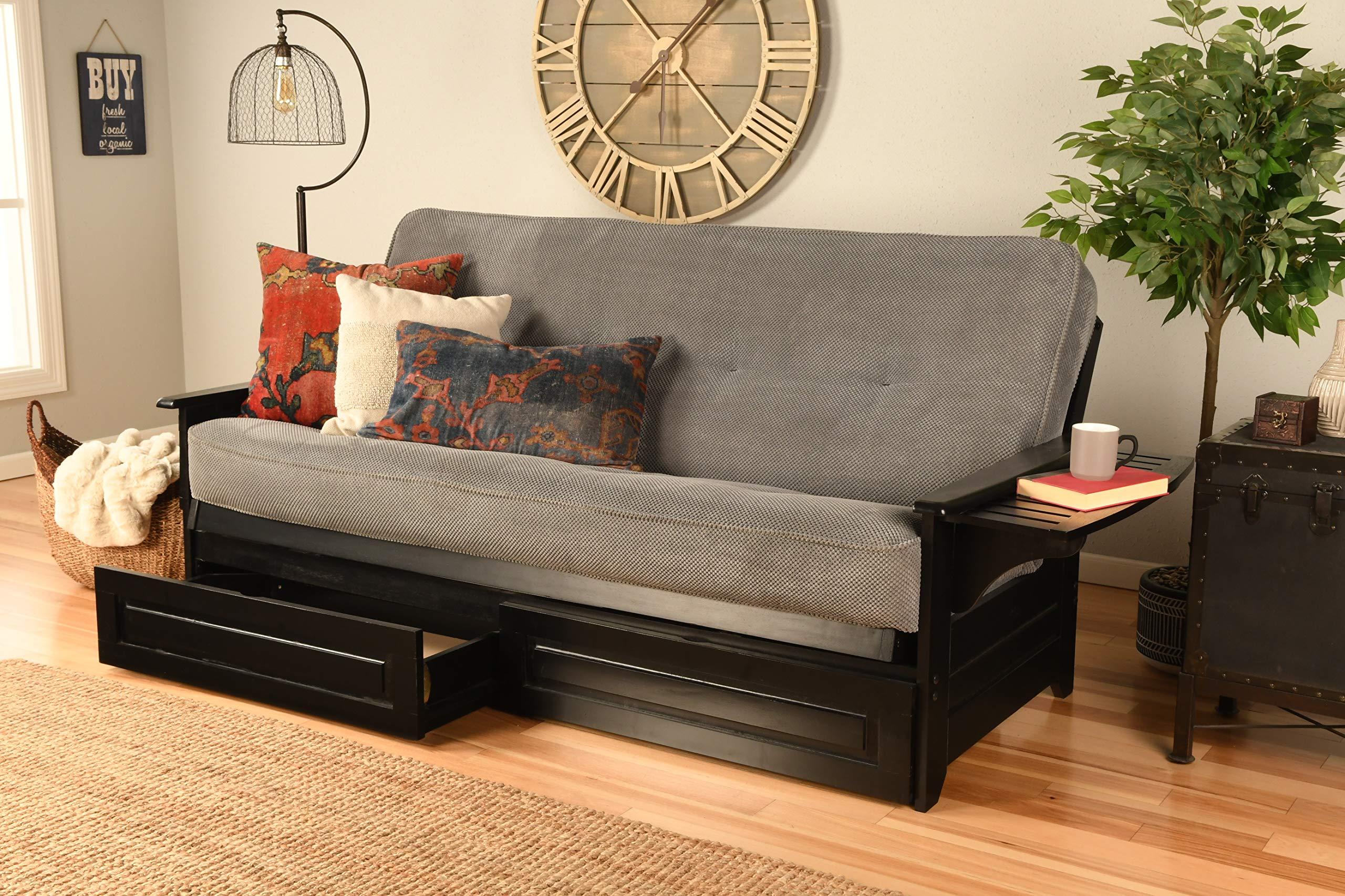 Kodiak Furniture Phoenix Full Size Futon In Black Finish, Marmont Thunder by Kodiak Furniture