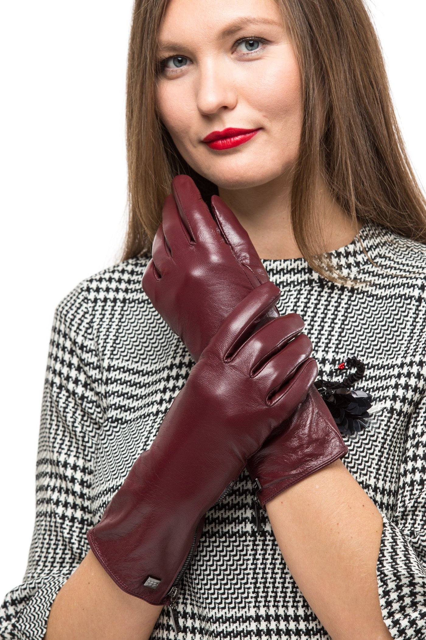 Long Sleeve Leather Zipper Gloves For Women, Touchscreen Cold Weather Long Sleeve Gloves - With Thinsulate Liner - Burgundy - Large by Marino Avenue