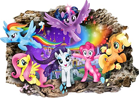 My Little Pony 3d Cartoon Smashed Wall Stickers For Bedrooms Boys
