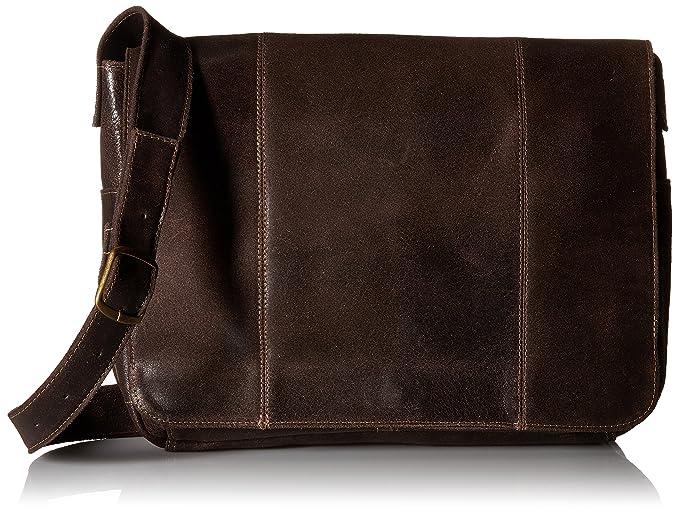 5498e2337329 Amazon.com  Le Donne Leather DS-1009-Choc Distressed Messenger ...