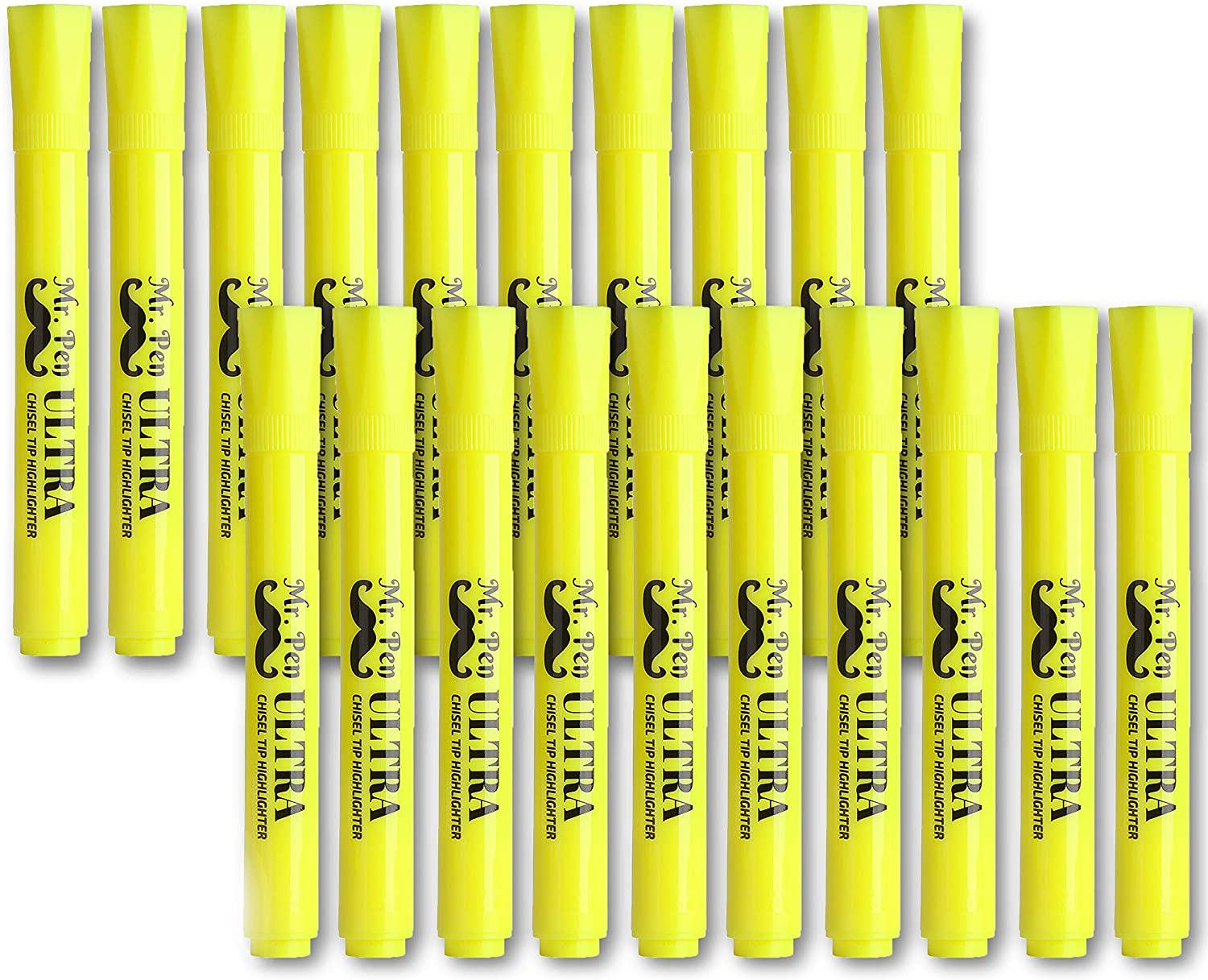 Mr. Pen Yellow Highlighters, Tank Style Highlighter, Pack of 20, Highlighters Markers, Highlighter Pen, Yellow Fluorescent Highlighter, Chisel Tip, Yellow Marker, Bulk Highlighter, Liquid Highlighter