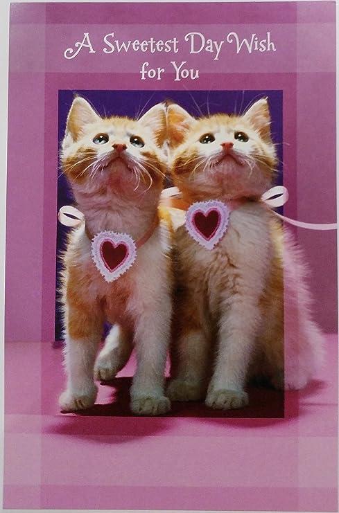Un día más dulce deseo para ti Tarjeta de felicitación w/gatos