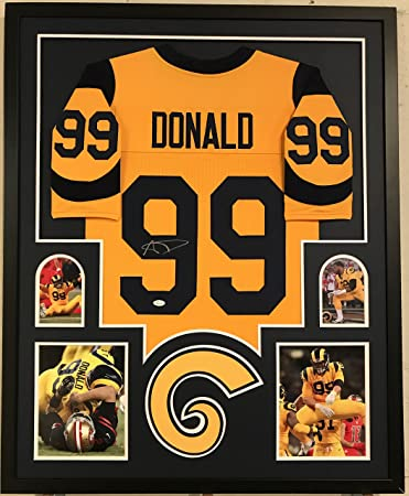 d7344365056 ... switzerland aaron donald autographed custom framed los angeles rams  jersey jsa coa 02bec ad839