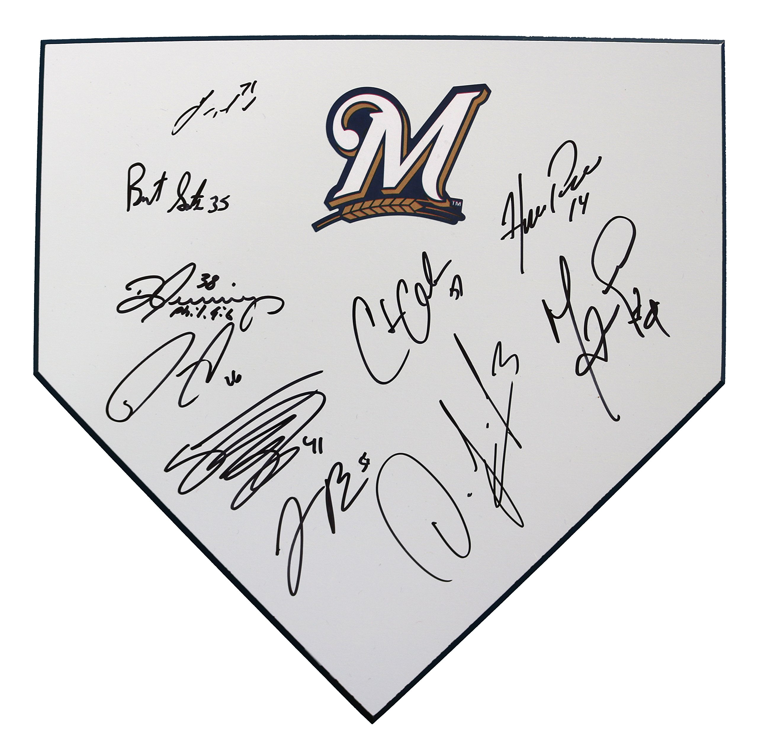 Milwaukee Brewers 2018 Team Autographed Signed Baseball Home Plate 10 autos