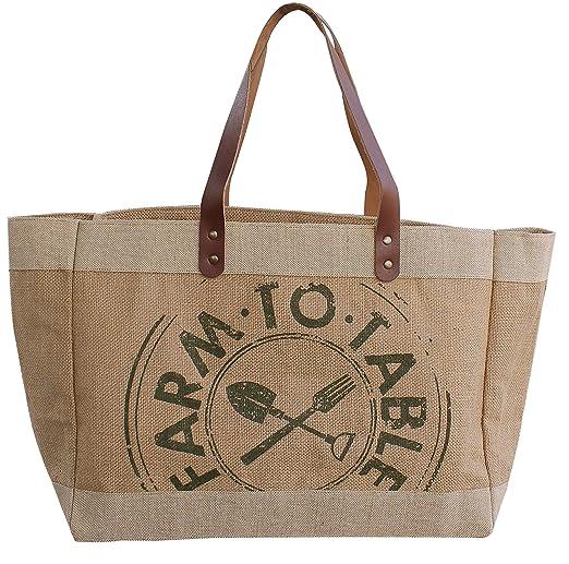 Earthwise - Bolsa de compras reutilizable de algodón yute con asa ...