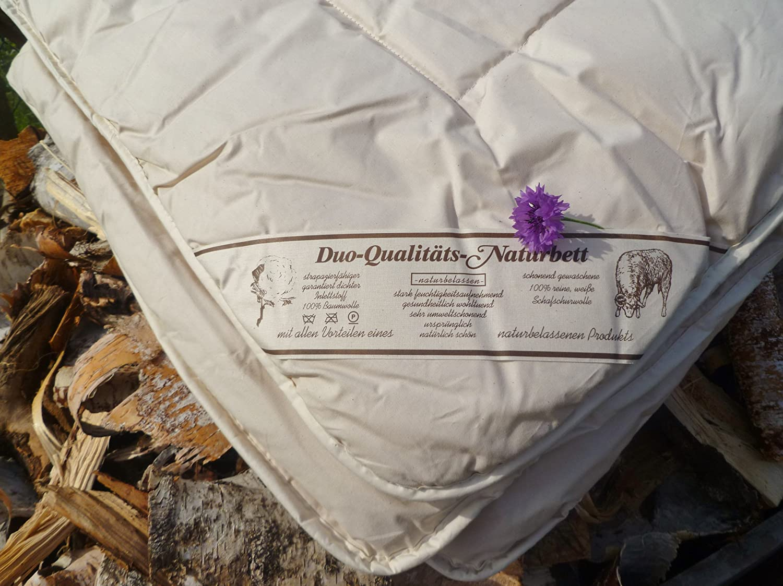 Bettdecke 100%Schurwolle Schaf 135x200cm 4 Jahreszeiten Qualitäts-Naturbett