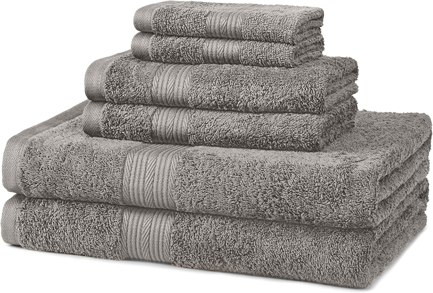 Basics 6-Piece Fade-Resistant Bath Towel Set - Grey: Home & Kitchen