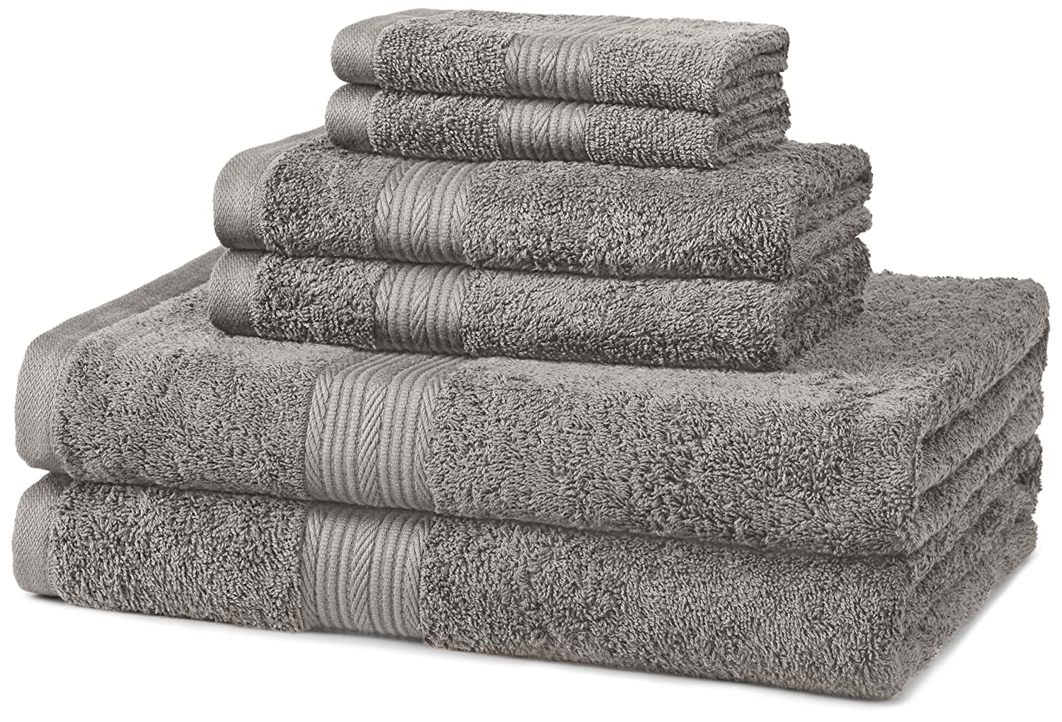 AmazonBasics Fade-Resistant Towel Set 6-Piece, Grey