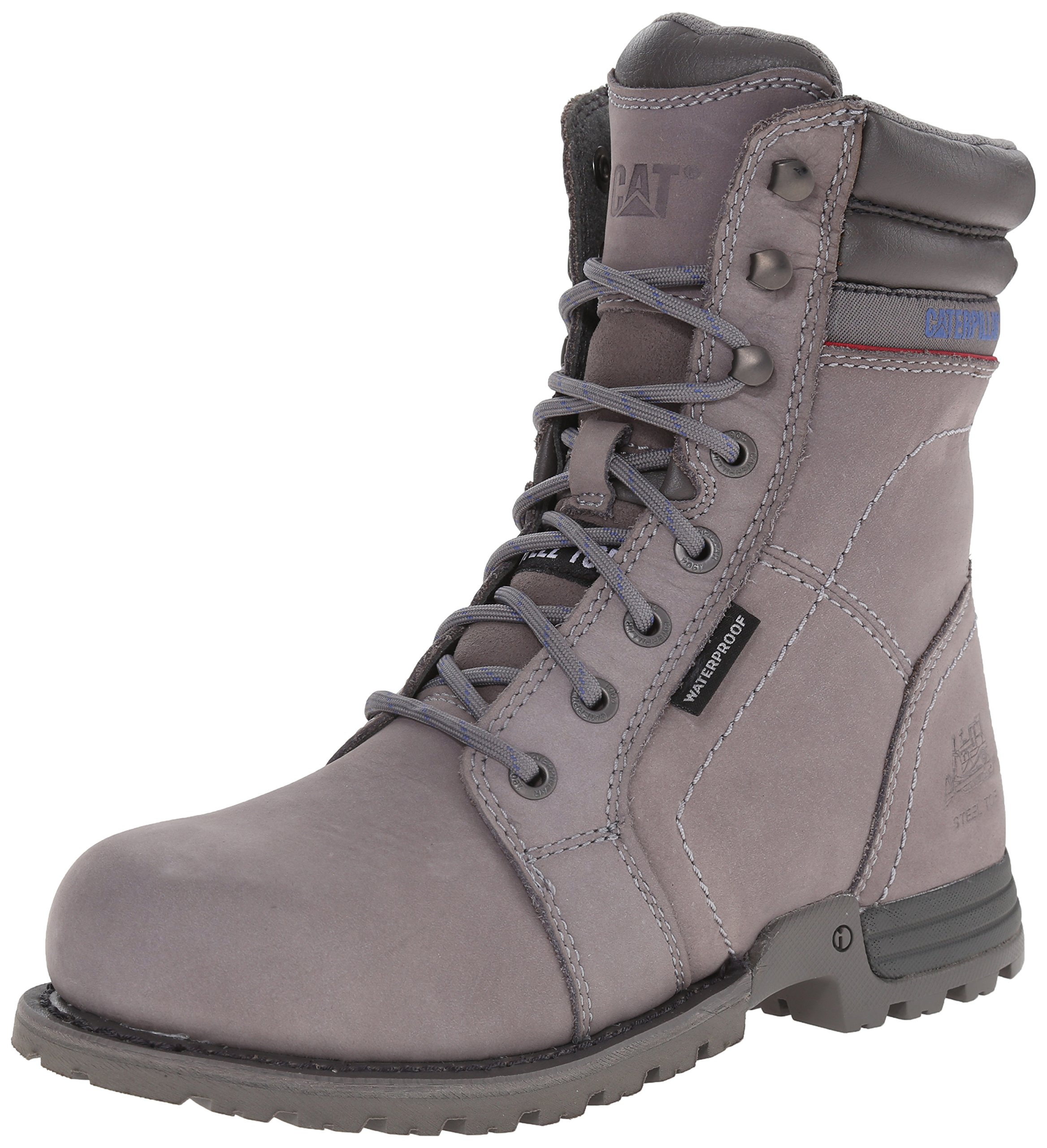 Caterpillar Women's Echo Waterproof Steel Toe Work Boot, Frost Grey, 8 M US by Caterpillar