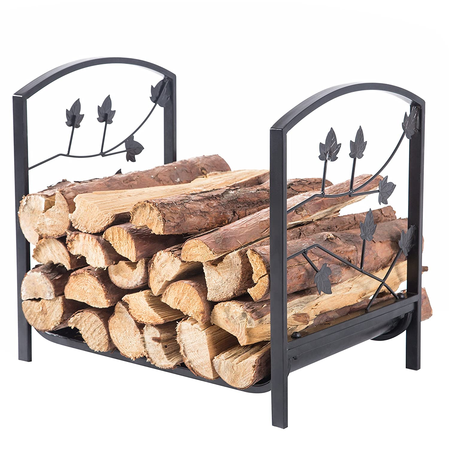 Rustic Black Metal Rectangular Firewood Log Holder Rack with Cutout Tree Branch Leaf Design MyGift