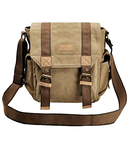 90da6c33b5 ZLYC Retro Men s Canvas Leather Messenger Shoulder Bag Fits iPad Air   Amazon.co.uk  Luggage