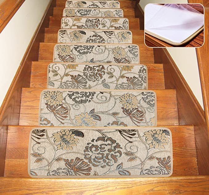 Pure Brown(2pieces)) Seloom Non-Slip Washable Stair Treads Carpet with Skid Resistant Rubber Backing Specialized for Indoor Wooden Steps