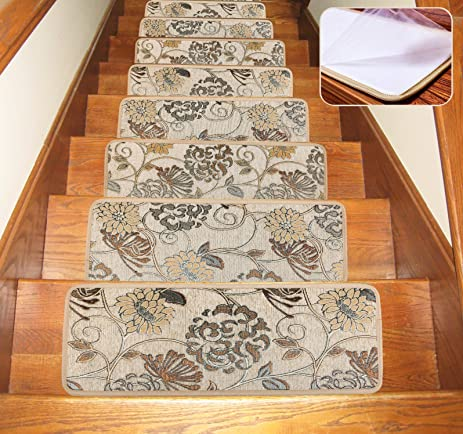 Soloom Carpet Stair Treads Indoor Set of 13 Blended Jacquard Skid ...