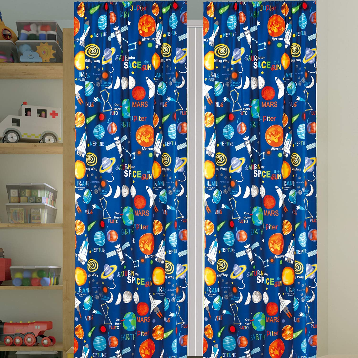 Kids Boys Window Curtain Panels with tiebacks (4 piece set), Space Planets Rockets Rocketship Multicolor Boys Kids Print Window Curtain for Boys Kids, Blue Green Teens Kids Room Décor, Space Curtains