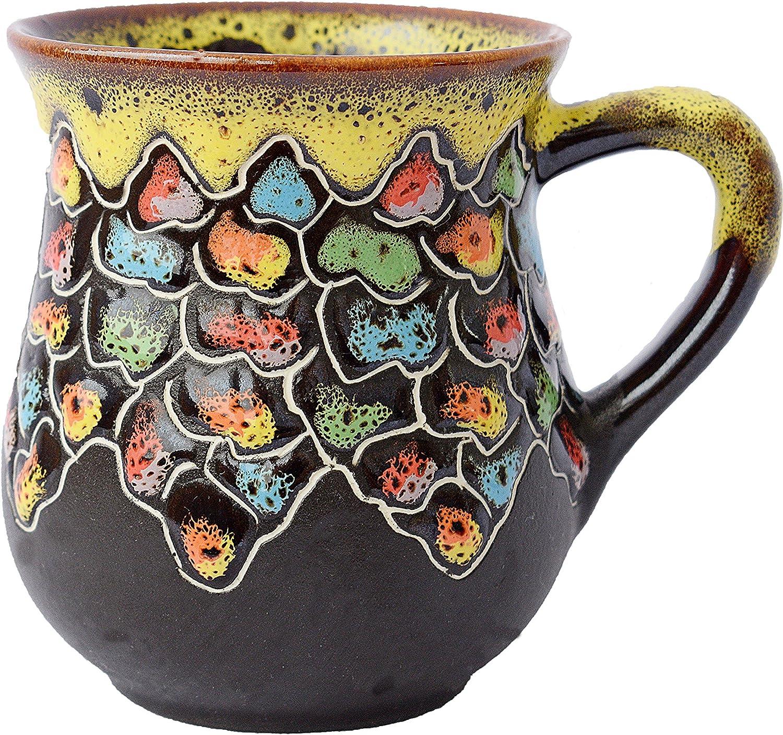 Amazon Com Pottery Coffee Mug Colorful Stones 10 Fl Oz Kitchen Dining
