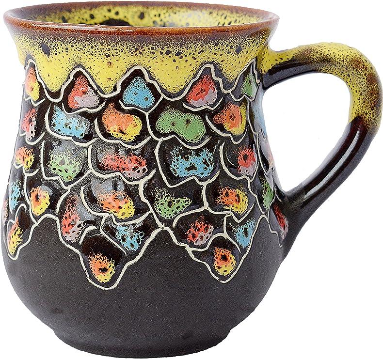 Pottery Handmade Coffee Mug Gift Idea «Colorful Stones» 16.9 ounce