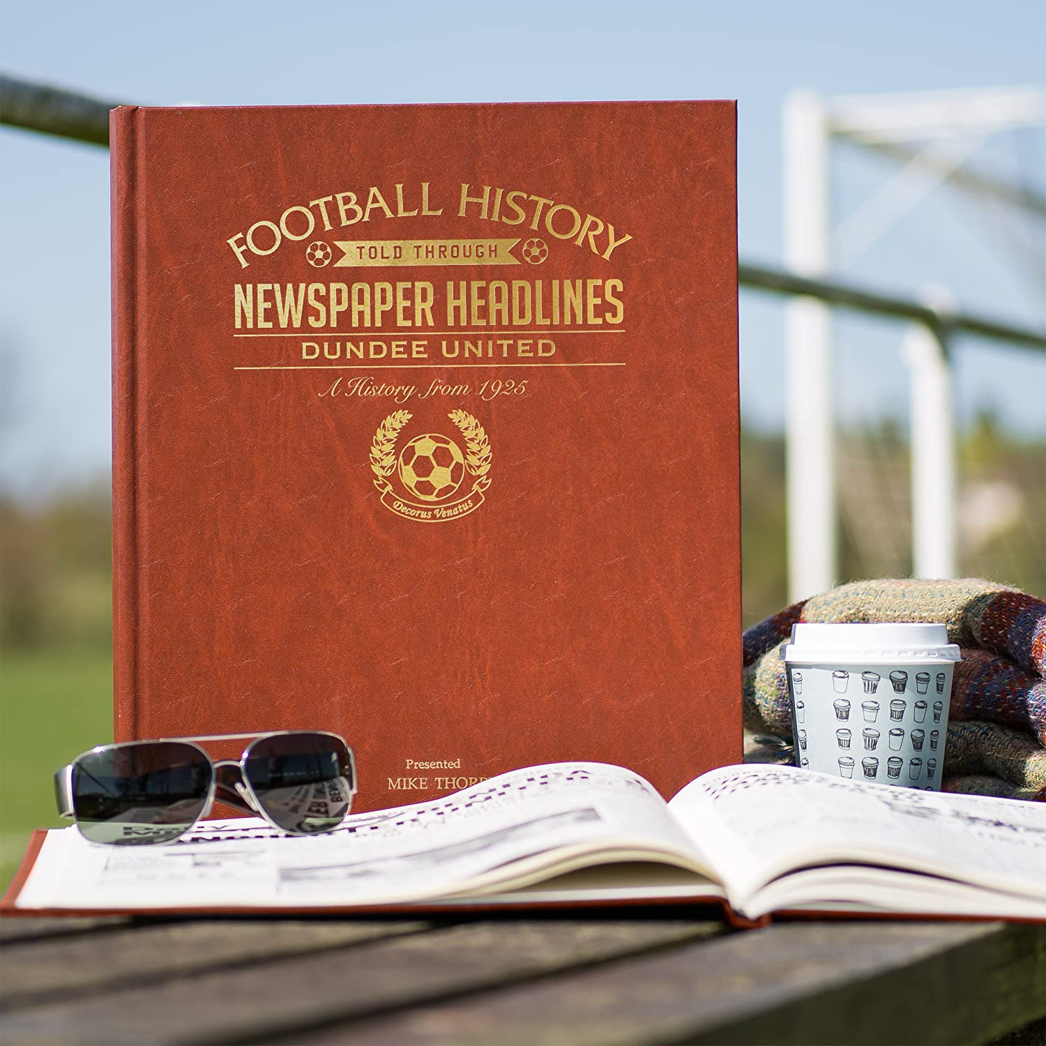 Brown Leatherette Signature gifts Personalised Football Club Newspaper Book 61 Teams