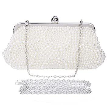 BAIGIO Bolsa de Fiesta Bolso de Embrague de Mano Nupcial Clutch Boda Perlas Elegante para Mujer,Blanco: Amazon.es: Equipaje