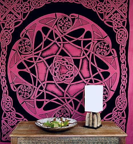 Guru-Shop Tapiz, Tela de Pared, Mandala, Colcha Celta - Diseño 15, Rojo, Algodón, 220x190 cm, Colchas Celtas y Relojes
