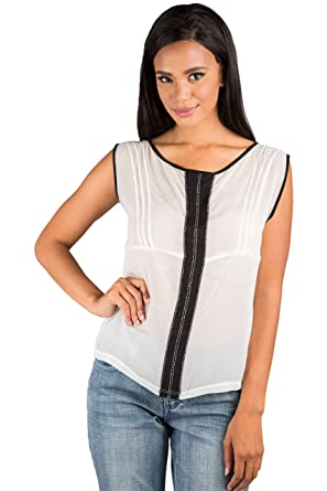37fb949fb911b8 Standards   Practices Modern Womens White 100% Silk Beaded Pintuck French  Blouse Size X-