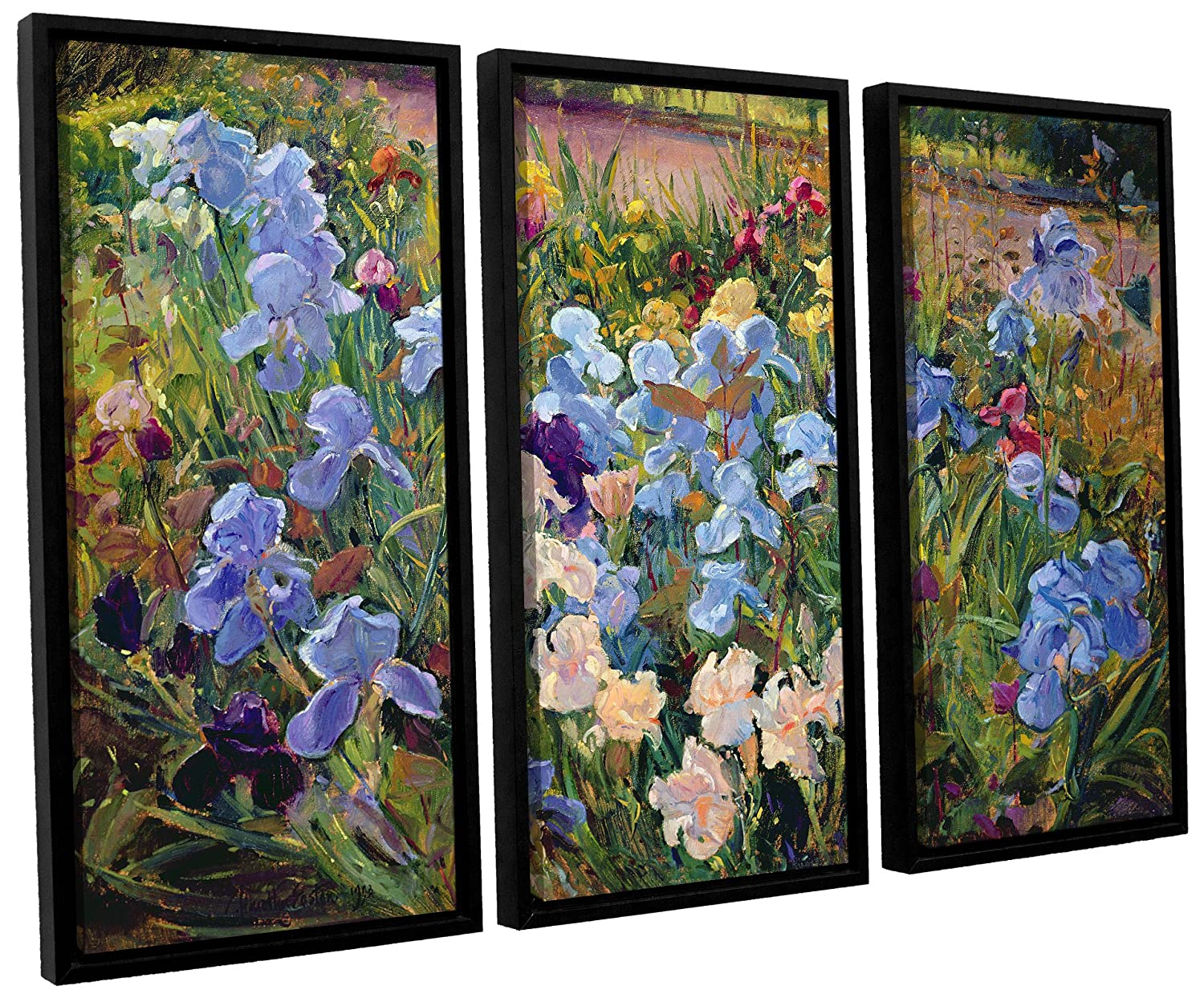 36X54 Timothy Easton The Iris Bed 1993 3 Piece Floater Framed Canvas Set