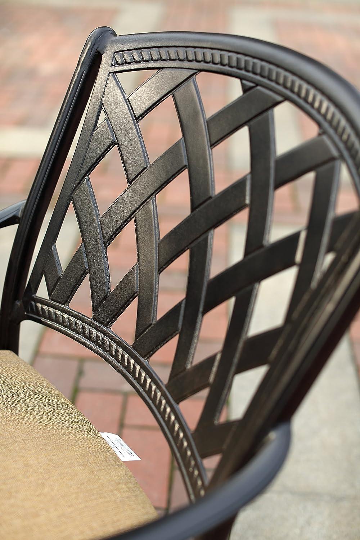 Darlee 201630-7CH-2 Cast Aluminum Swivel Counter Height Bar Stool Seat Cushion Set of 2 , Antique Bronze