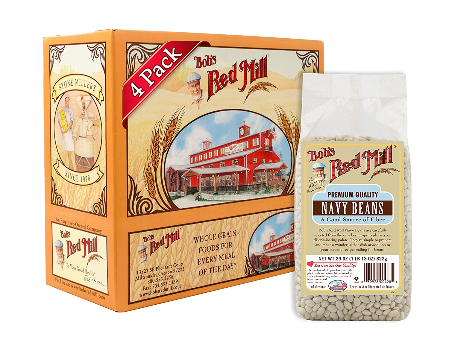 81b3db9b17e75c Amazon.com : Bob's Red Mill Navy Beans, 29 Ounce (Pack of 4) : Dried Kidney  Beans : Grocery & Gourmet Food