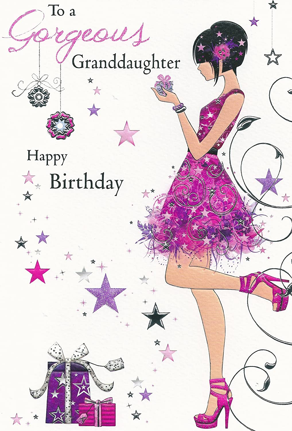 To A Gorgeous Granddaughter Happy Birthday Card Jj8542 Amazonco