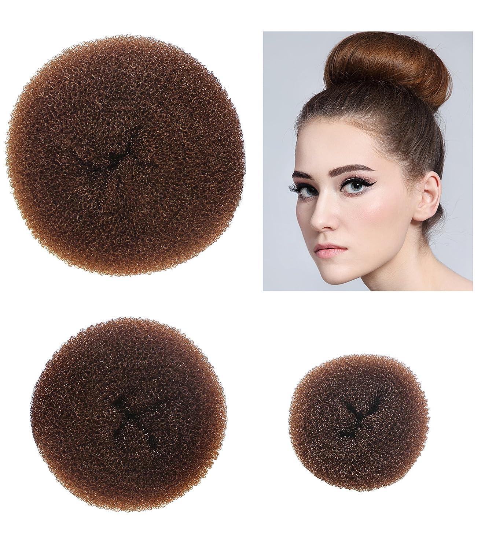 Styla Hair 3 Piece Donut Hair Bun Maker 1 Small 1 Medium 1 Large Brown