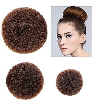 Styla Hair 3 Piece Donut Hair Bun Maker, (1 Small, 1 Medium, 1 Large) ,  Brown
