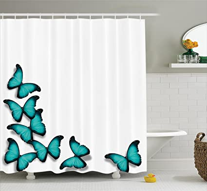Ambesonne Turquoise Shower Curtain Set Butterflies Morphs Pattern Spring Sunny Day Warm Weather Free Enjoyment