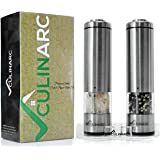 Electric Salt and Pepper Grinder Set (x2 Mills) with Tray by Culinarc - Battery Operated Mill with Ceramic Grinders - Adjustable Coarseness with Automatic LED Light - Durable Stainless Steel Design