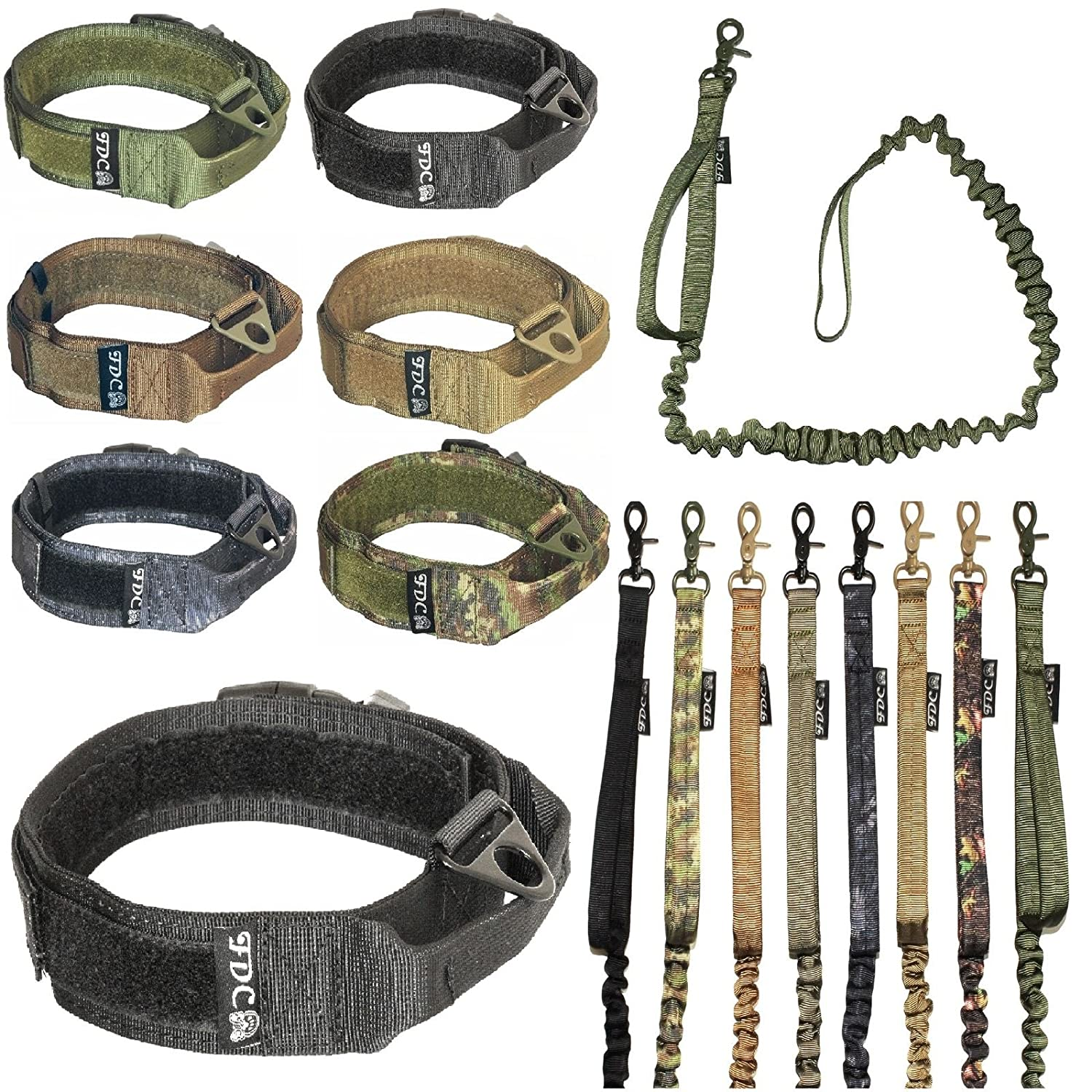 Black M  Neck 11\ Black M  Neck 11\ FDC Dog Tactical Collar with Leash Bungee Handle Heavy Duty Training Military Army Molle Width 1.5in Plastic Buckle Hook & Loop (M  Neck 11  12 , Black)
