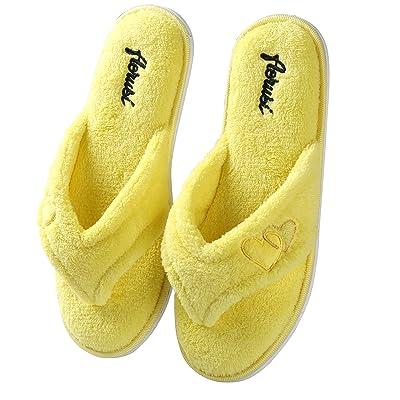 Aerusi Women's Soft Plush Heart Decor Thong Spa Home Indoor Flip-Flop Slipper
