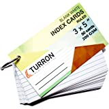 Turron Ruled Big 3 x 5 inch Ringed White Index Flash Cards (50 cards per set, 200 gsm) suitable for Exam Preparation, Cheet Sheets, Short Notes, Syllabus Revision (1)