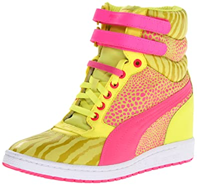 PUMA Womens Sky Wedge Reptile Fashion Sneaker,Fluorescent Yellow,10.5 ...
