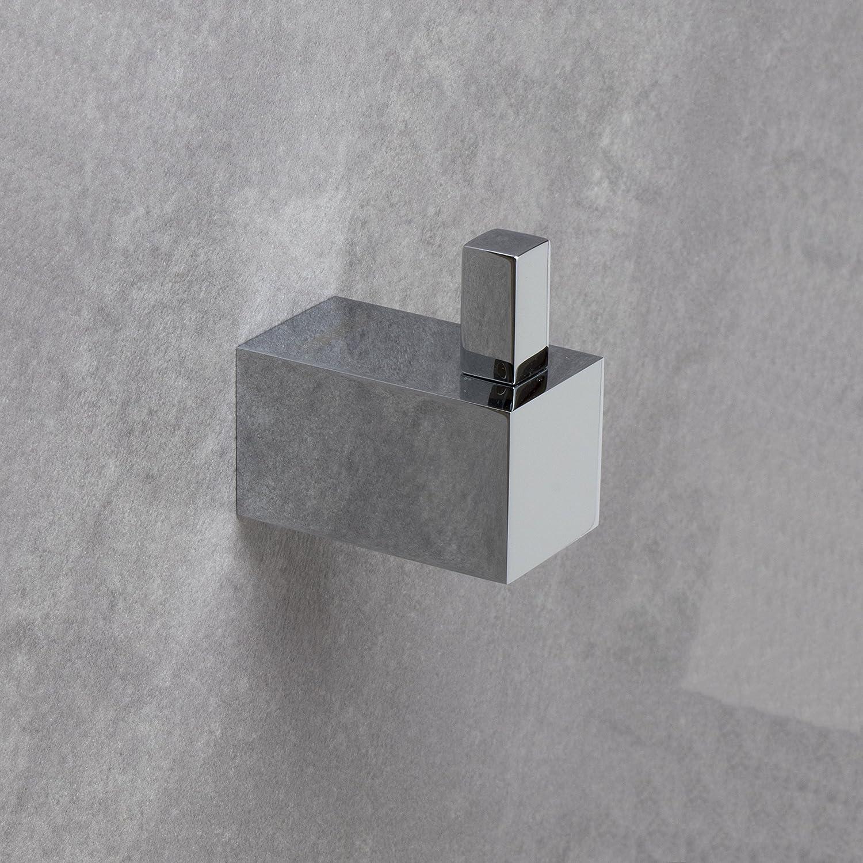 Design crochet à peignoir carré Chromé poli Patère Crochet Porte