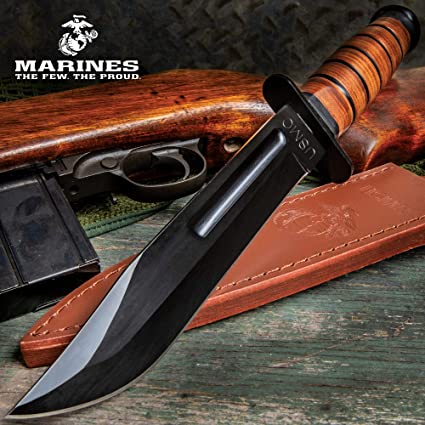 Amazon.com: USMC Combat Fighter cuchillo y vaina: Sports ...