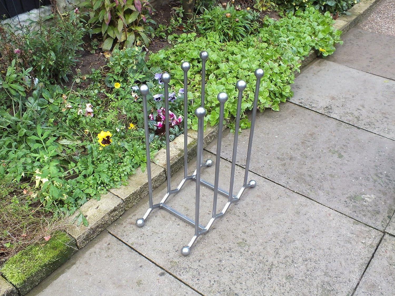 De hierro forjado-zapatero-para-soporte para bicicleta - 4-pares Zigzag gris: Amazon.es: Hogar