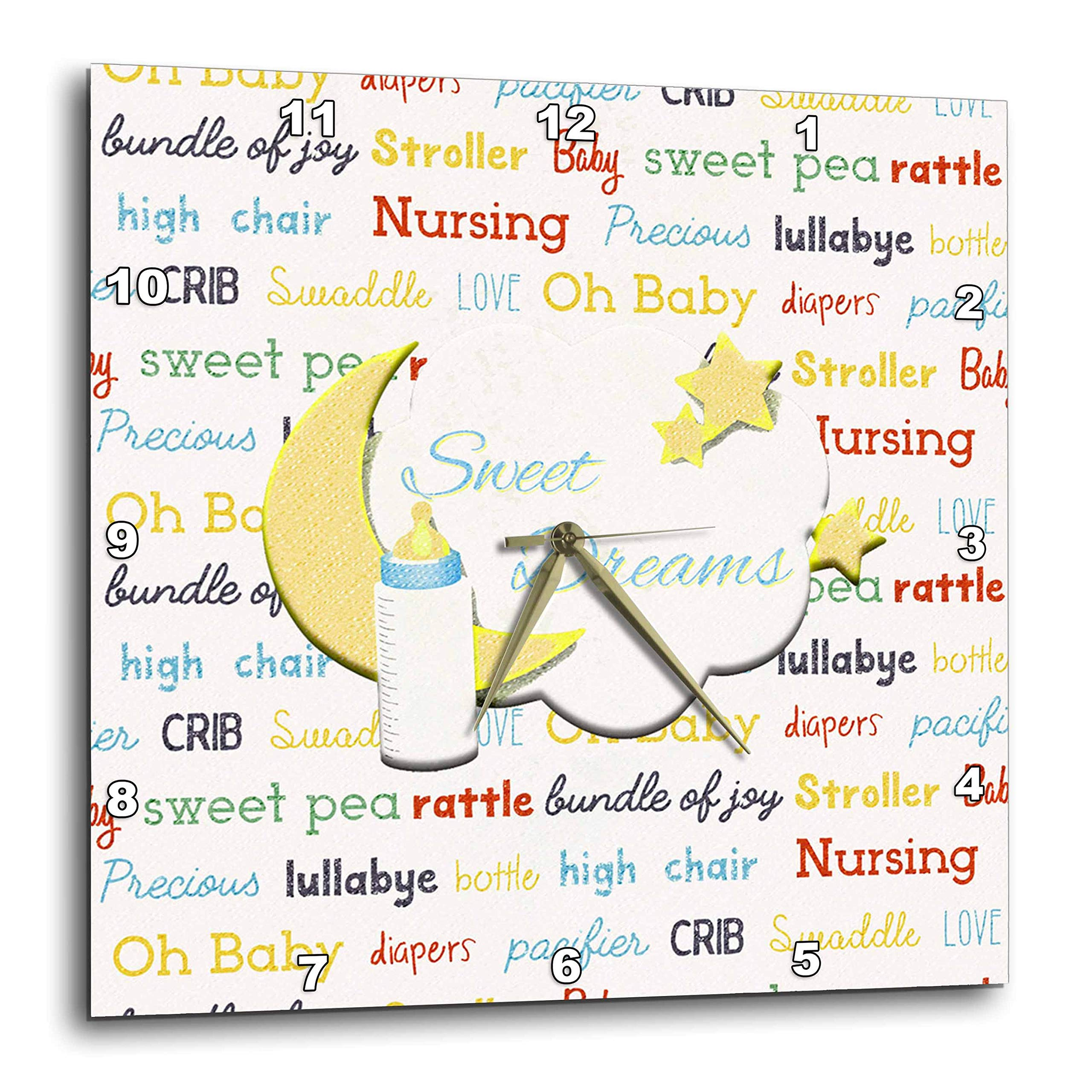 3dRose Beverly Turner Baby Stuff Design - Sweet Dreams, Moon, Stars, Baby Bottle, Baby Theme Words, Yellow, Blue - 15x15 Wall Clock (DPP_313316_3)