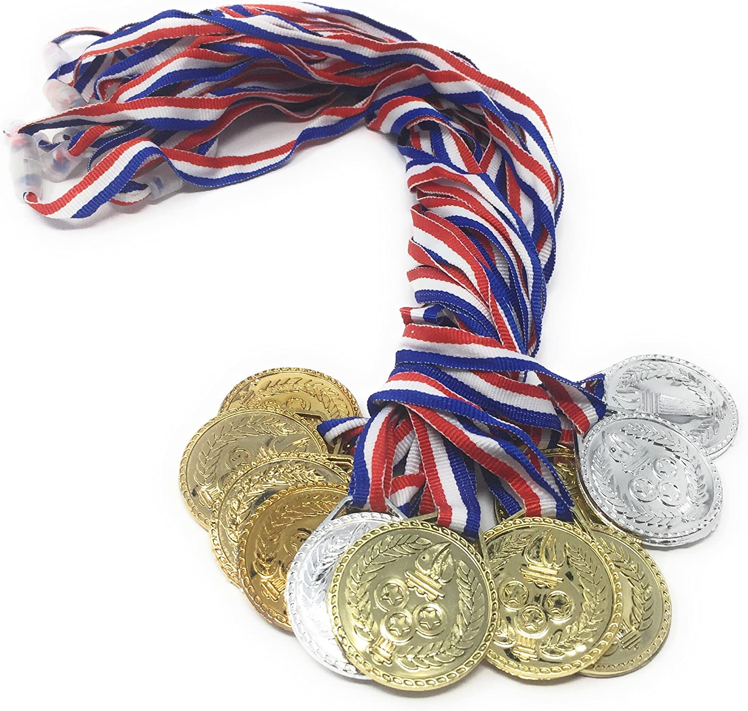 Torch Award Medals (2 Dozen) - Bulk - Gold, Silver, Bronze Medals - Olympic Style Award Medals - First Second Third Winner -Olympic Medals-Great for Party Favor Decorations and Awards