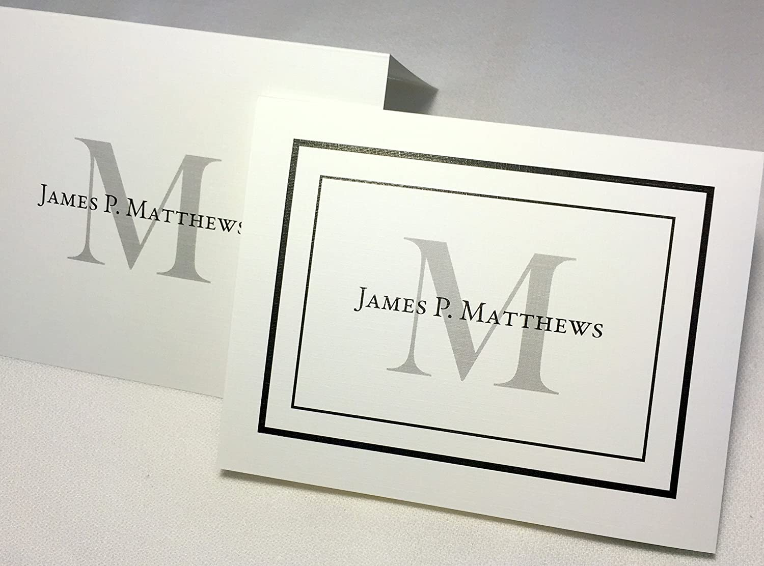 50 Personalized Note Cards With Envelopes Add An Initial And Full Name Choose With Border Or