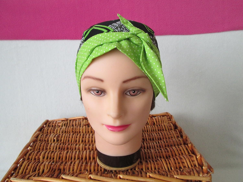 Foulard, turban chimio, bandeau pirate au féminin motif africain et vert anis