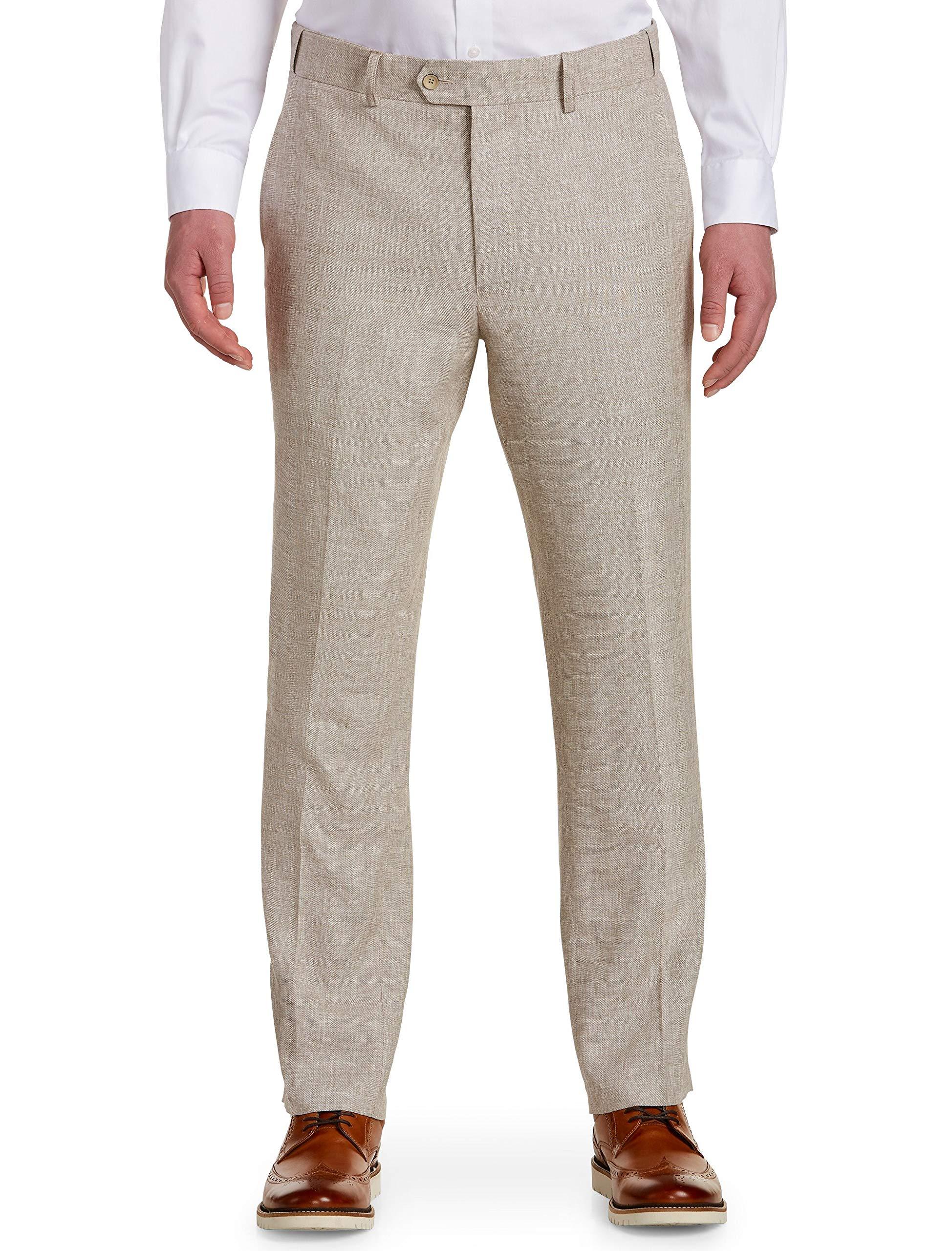 Oak Hill by DXL Big and Tall Waist-Relaxer Flat-Front Linen-Blend Suit Pants Tan by Oak Hill