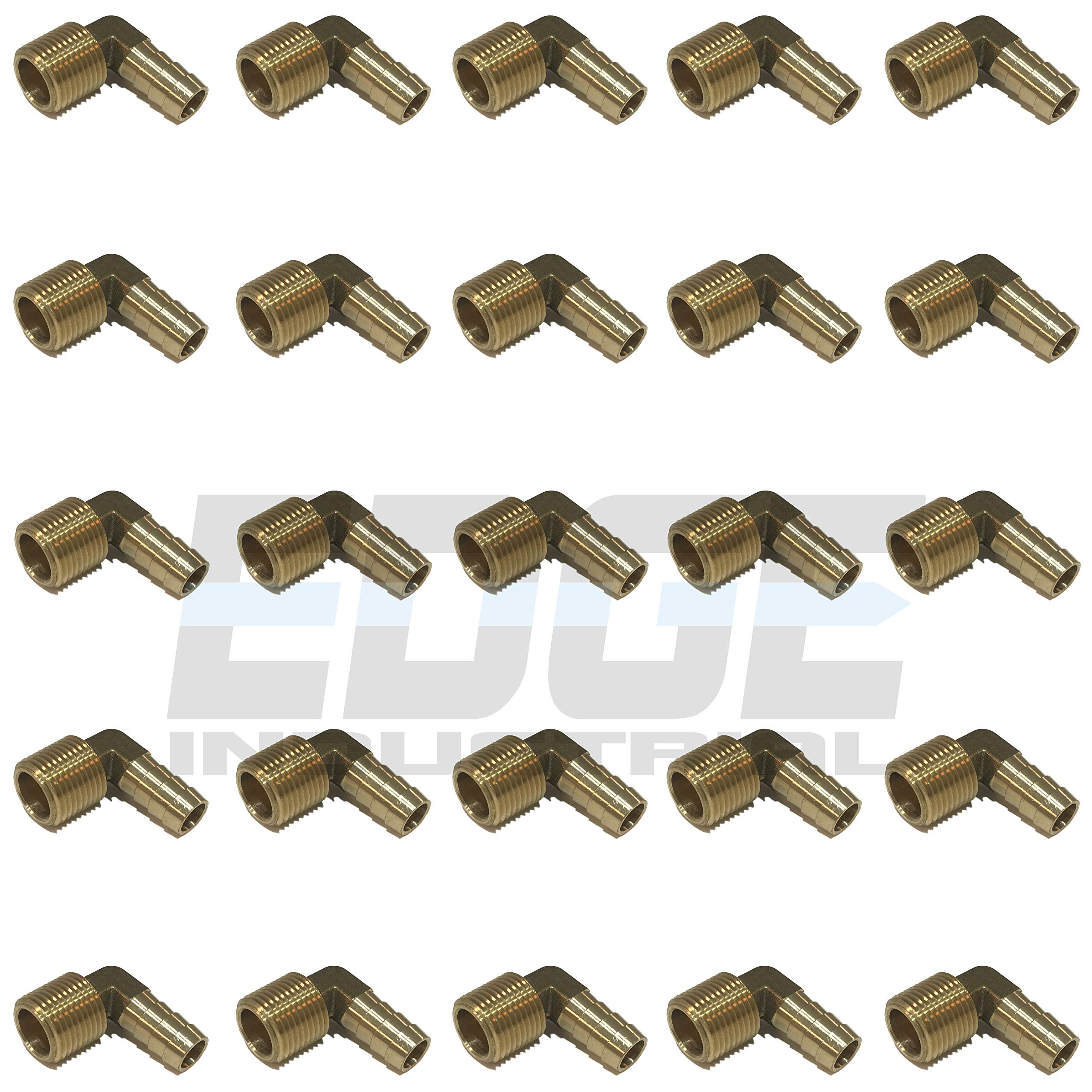 EDGE INDUSTRIAL 1/2'' Hose ID to 1/2'' Male NPT MNPT 90 Degree Elbow Brass Fitting Fuel / AIR / Water / Oil / Gas / WOG (Qty 25)